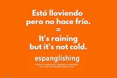 Espanglishing | free and shareable Spanish lessons = lecciones de Inglés gratis y compartibles: Está lloviendo pero no hace frío = It's raining but it's not cold