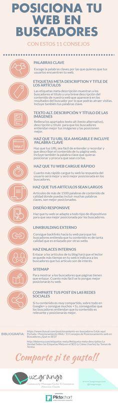 11 consejos para posicionar tu web en buscadores #infografia #infografias #infographic
