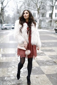 hoch komplett 2 asos lace dress rust dress vikings look inspiration zara faux fur jacket birthday look winter geburtstags outfit winter herbst samieze streetstyle