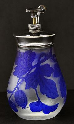 Circa 1900, French, Cameo Glass, Atomizer Perfume Bottle with Deep Purple Flowers & Berries