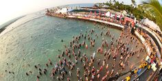 The famed IRONMAN World Championship swim start at the pier in Kailua-Kona, Hawaii. Photo: FinisherPix.com