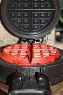 Super simple Red Velvet Waffles. Just use a cake mix. Twisted Flavor: Red Velvet Waffles