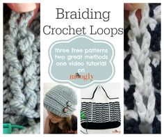 Braiding Crochet Loops by Moogly - Crochet Pattern Bonanza Moogly Crochet, Free Crochet, Knit Crochet, Hand Crochet, Crochet Crafts, Crochet Projects, Crochet Tutorials, Yarn Projects, Yarn Crafts