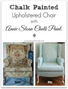 Chalk Painted Upholstered Chair Makeover - Before and After - Painted with chalk paint and coated with Annie Sloan Clear Wax