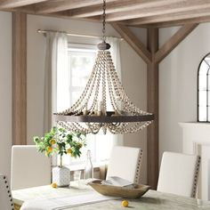 Duron 5 - Light Candle Style Wagon Wheel Chandelier with Bea.-Duron 5 – Light Candle Style Wagon Wheel Chandelier with Beaded Accents - Candle Style Chandelier, Decor, Empire Chandelier, Lantern Lights, Wagon Wheel Chandelier, Geometric Chandelier, Candle Styling, Chandelier, Farmhouse Chandelier