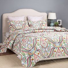 Lovely Bedding Paisley Printed Quilt Set 3 Pc Full/Queen Bedspread Soft Decor  #Bedsure