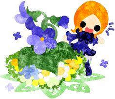 春のフリーのイラスト素材可愛い女の子とスミレのイラスト  Free Illustration of spring Illustration of a cute girl and violet   http://ift.tt/2mRuIzn