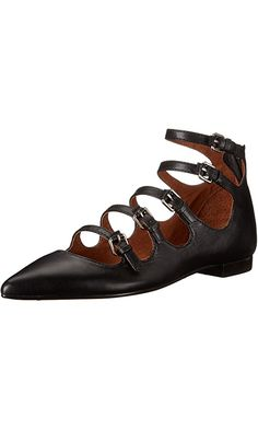 FRYE Women's Sienna Buckle Ballet Flat, Black, 8 M US Best Price