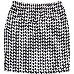 Pre-owned St. John- Black & White Houndstooth Skirt ($135) ❤ liked on Polyvore featuring skirts, bottoms, black white skirt, black and white skirt, elastic skirt, st. john and houndstooth skirt