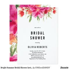Bright Summer Bridal Shower Invitation This design features brightly colored floral watercolor graphics with bold black modern type.