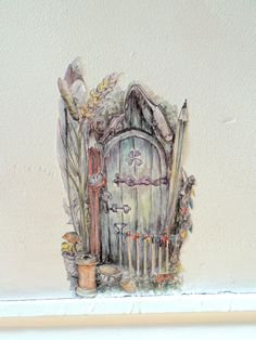 Fairy door decal pixie door watercolour wall by SmockBallpoint
