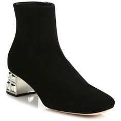 Miu Miu Jewel-Heel Suede Booties (£1,010) ❤ liked on Polyvore featuring shoes, boots, ankle booties, apparel & accessories, black, black ankle boots, black suede boots, black boots, black booties and black bootie