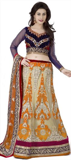 167124 Beige and Brown  color family Mehendi & Sangeet Lehenga in Net fabric with Lace, Machine Embroidery, Patch, Resham, Stone, Thread work .