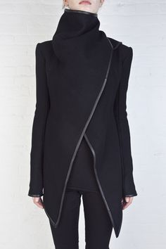 Asymmetrical wool and leather jacket by Gareth Pugh