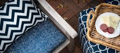 indoor/outdoor fabrics can be made into custom size outdoor cushions. outdoor ottoman, outdoor pillows | Laurie Bell |