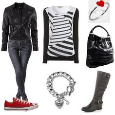 Feeling edgy - Black and white outfit, -All items under 50 dollars each. Beautiful Clothes, Beautiful Outfits, Avengers Story, White Outfits, Red Shoes, Dress Up, Doll, Black And White, Gray