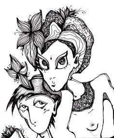 by Anya Katamari   #illustration #katamariart #handdraw #graphics #black #white #boy #girl #love #anyakatamari