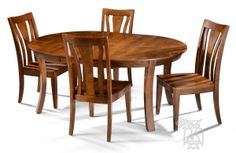 Solid Alder Grant Park Extension Round Table with Legs & Wood Seat Chair Set in Pecan Finish