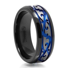 Black & Gray Titanium Ring with Blue Anodized Groove - $215.00 - Make a statement in bold blue. Since the blue color is anodized it will not chip or flake it has been in-bedded into the very metal. Great style at a great price. Qualifies for free shipping. #mensfashion #mensstyle #mensjewelry #dailydeals