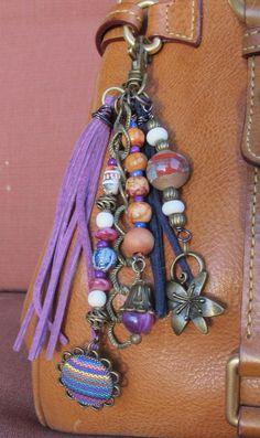 Boho Purse Charm, Tassel, Zipper Pull, Key Chain - Indian Fabric, Lavender, Navy…