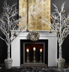 dramatic holiday mantel