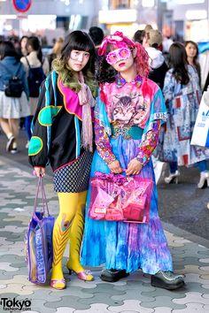 Colorful Vintage Tokyo Street Fashion w/ Dog Harajuku Cat Print, Kinji & Handmade Items