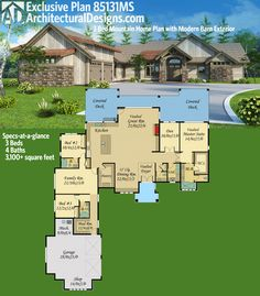 Architectural Designs Exclusive Plan 85131MS. One level living with a modern barn-like exterior. 4 beds, 3 baths and over 3,100 square feet. Ready when you are. Where do YOU want to build?