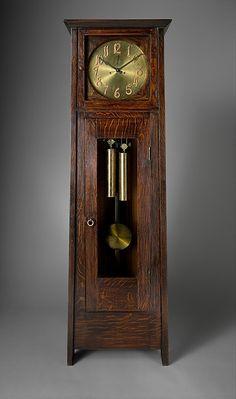 Gustav Stickley (1858-1942) - Tall Case Clock. Oak and Brass. Circa 1902.