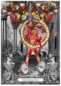 A richly illuminated book of tarot card of collages by Arthur Taussig.