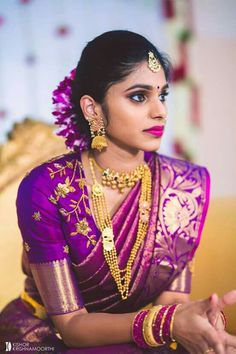 South Indian bridal look Pattu Saree Blouse Designs, Bridal Blouse Designs, Traditional Blouse Designs, Indian Bridal Hairstyles, Indian Bridal Fashion, South Indian Bride, Saree Dress, Beautiful Saree, Indian Designer Wear