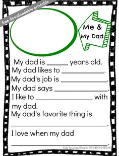 free-downloadable-fathers-day-printable-from-Kids-Activities-Blog. Father's Day Round-Up. SunshineandHurricanes.com Father's Day Printable, Fathers Day, Activities For Kids, Activities For Children, Father's Day, Children Activities, Kid Crafts, Infant Activities