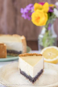 This easy baked vegan tofu cheesecake is flavored with lemon zest and features a delicious rich poppy seed layer. A plant-based, gluten-free, oil-free, egg-free, refined sugar-free dessert for Easter or Mother's Day. Vegan Tofu Cheesecake, Cheesecake Recipes, Dessert Recipes, Healthy Vegan Desserts, Vegan Recipes, Sugar Free Brownies, Sugar Free Pudding, Sugar Free Desserts, Sweet Recipes