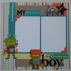 My Boy  Robots  premade scrapbook layout page by ohioscrapper, $15.00