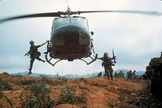 1968 US soldiers jump from a helicopter during Operation Pegasus, a failed attempt to lift the siege of Khe Sanh