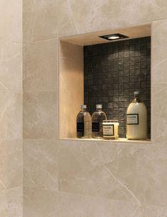3 Far-Sighted Cool Tricks: Old Stand Up Shower Remodel shower remodel beige.Shower Remodeling With Window Glass Blocks shower remodel privacy.Master Shower Remodel On A Budget. Beige Tile Bathroom, Bathroom Niche, Shower Niche, Master Shower, Master Bath, Shower Tile Designs, Toilet Tiles Design, Small Shower Remodel, Shower Lighting