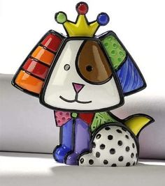 Romero Britto Mini Dog with Crown, Royalty, by Giftcraft Miniature Figurines, Collectible Figurines, Evil Gnome, Mini Dogs, Disney Traditions, Arte Pop, Gifts For Wedding Party, Hanging Wall Art, Doge
