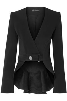 Shop on-sale Ruffled satin-trimmed cady blazer. Browse other discount designer Blazers & more luxury fashion pieces at THE OUTNET David Koma, Jacket Dress, Blazer Jacket, Tailored Jacket, Blazer Dress, Black Women Fashion, Womens Fashion, Emo Fashion, Givenchy