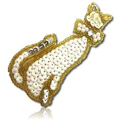 Beautiful & Custom x Inch} 1 of [Sew-On & Glue-On] Embroidered Applique Patch Made of Sequins & Beads w/Pure Shade Well Groomed House Cat w/Cute Pearly Bow Design {Gold, White, Silver} Bow Design, Sew On Patches, Applique, Sequins, Bows, Pure Products, Cat, Silver, Beautiful