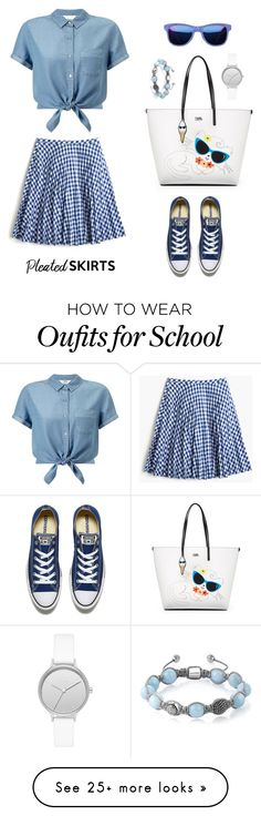 """I'm not a school girl"" by beautifulgirlsblog on Polyvore featuring J.Crew, Miss Selfridge, Converse, Karl Lagerfeld, Skagen, Shamballa Jewels and pleatedskirts"