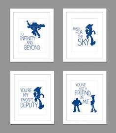 Digital Download Set of 4 Toy Story Woody Buzz Nursery Art Print, Woody Toy Story Nursery Art Boys Room - 8x10 or 11x14