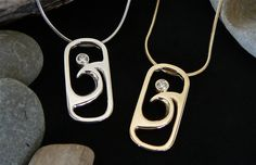 Spindrift Pendants  White Gold with Diamond Yellow Gold with Diamond