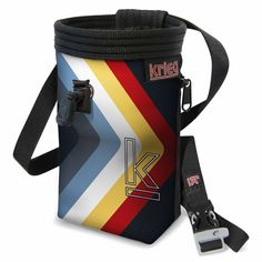 """Bold Stripes Chalk Bag. Classic Handmade bag with Water-Resistant Rip-Stop, plated with a Unique Eco-Canvas Print, Reinforced with heavy nylon webbing. Polartek Fleece Lining with an adjustable Snag-Free Draw Cord, and 2"""" elastic grip to keep your chalk clean and where it needs to be. Zippered Pocket which fits the average-sized phone, so take a photo from the top or stash a snack. Adjustable Waist Band with a featured whistle buckle. Life-time Warranty. We love to see our bags used. Give…"""