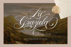 La Graziela is an enchanting handwritten font. This versatile script font has a wide spectrum of applications ranging from greeting... Script Typeface, Handwritten Fonts, Calligraphy Fonts, Typography Fonts, Hand Lettering, Wedding Fonts, Wedding Cards, Classy Fonts, Romantic Fonts