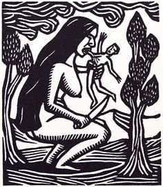 Artemio Rodriguez. Man Eater Woman, 2003. Linocut. Edition 50. 2-1/4 x 2 inches.