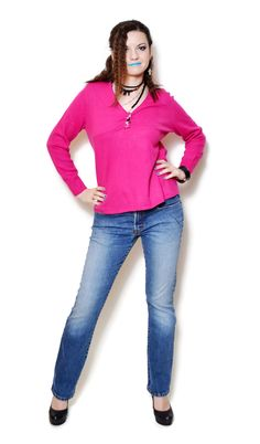 pink sweater outfit fall casual  US$44.95