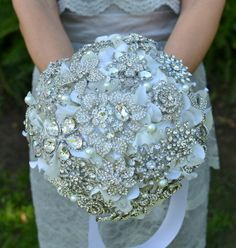 Rhinestone Wedding Bouquet | Rhinestone Jewel Brooch Bridal Bouquet | Someday :)