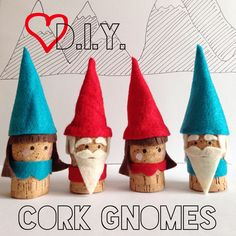 Wine Corks - Could make these with cardboard tubes and paper cone hats