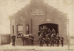 Drummoyne's second fire station, in with the volunteer fire brigade showing off their newly acquired horse drawn manual engine. This fire station was built in Old Images, Old Photos, Vintage Photos, Five Dock, Victorian Life, Fire Apparatus, Horse Drawn, Emergency Vehicles, Fire Engine