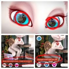 "Talking Angela: Chatty Cat or Kittenapper!? Left eye: I see a dog Right eye: I censored face Bottom left pic: SUSPICIOUS!!! Bottom right pic: I was asking her my age and then she was like ""side effects of pets: poop. Wanna talk about that"" and I was like ""no"" and she said that. She was trying to draw my attention away from the stalker questions."