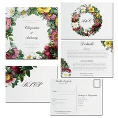 Printable Wedding Invitation DIY Vintage Floral Wedding Set - The Rose Garden Suite